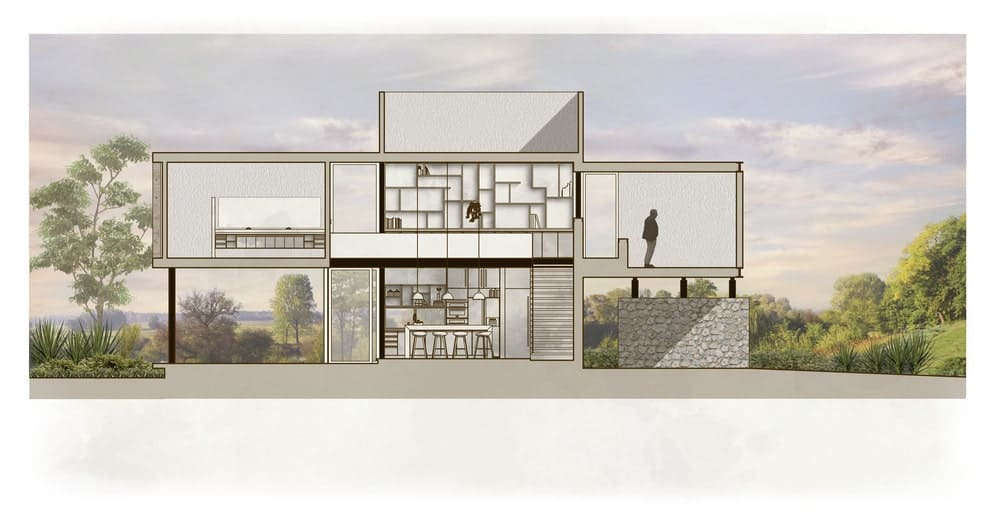 This is an illustration of the rear elevation featuring the interior sections of the side.