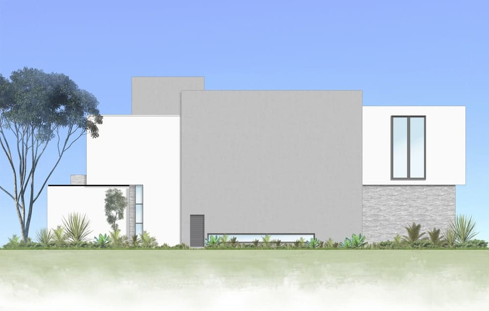 This is an illustration of the back of the house featuring the large concrete walls and white exterior walls.