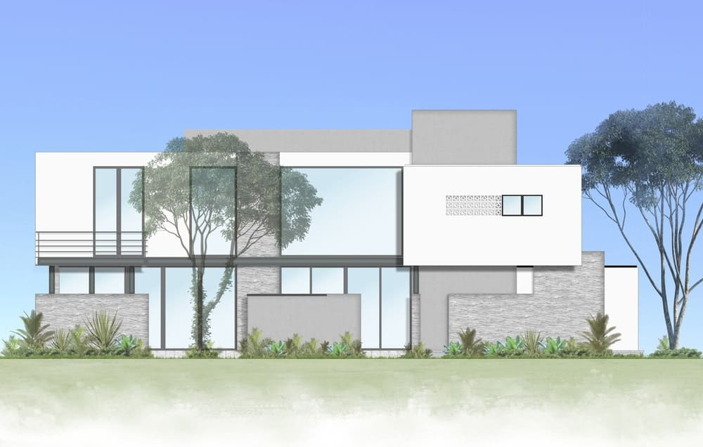 This is an illustration of the other side of the house with an abundance of glass walls, glass windows and doors that complement the exterior walls.