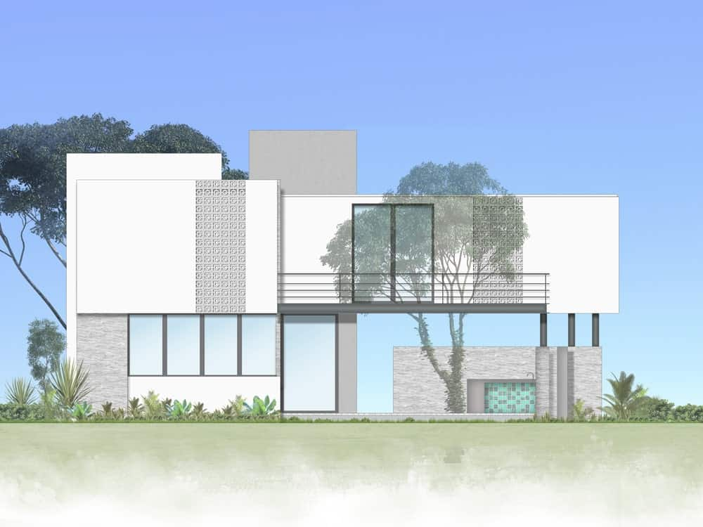 This is the illustration of the side of the house that showcases the balcony and the outdoor areas.