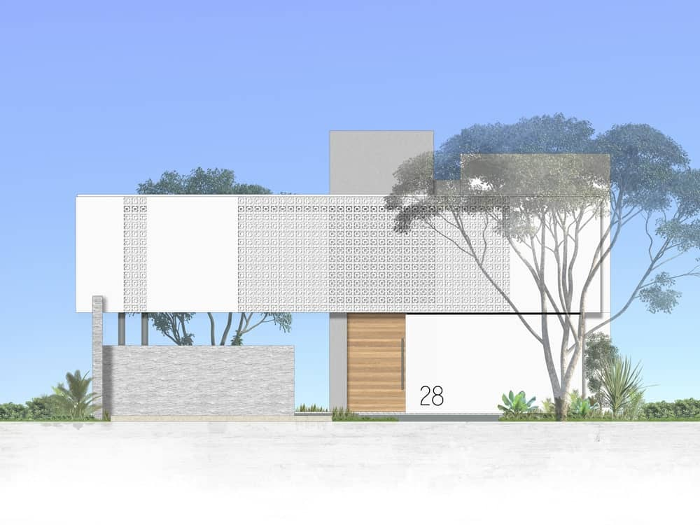 This is an illustration of the from of the house showcasing the car pot, main entrance and the exterior walls.