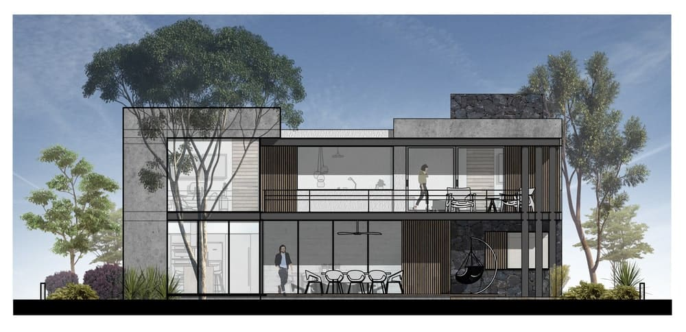 This is an illustration of the side elevation of the house showing the sections of the house inside the walls.