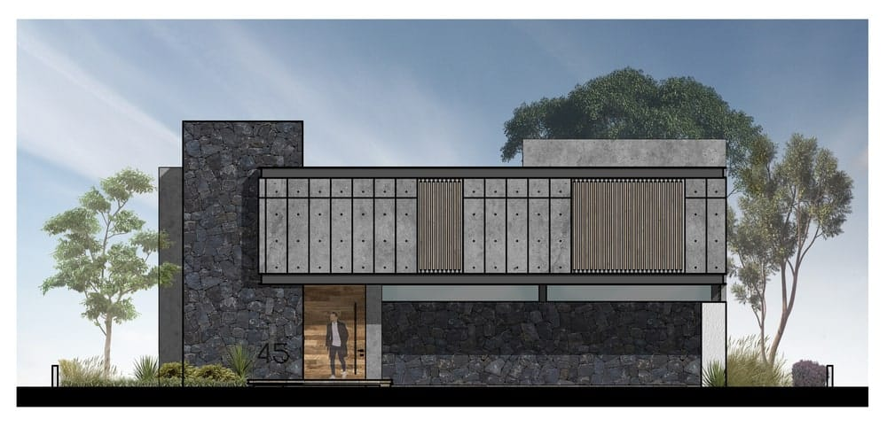This is an illustration of the front elevation of the house showing the car port and entrance.