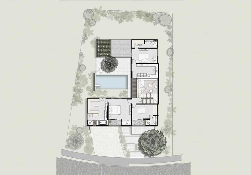 This is the second level floor plan for the whole property that showcases the sections of the house as well as the outdoor areas and landscaping.