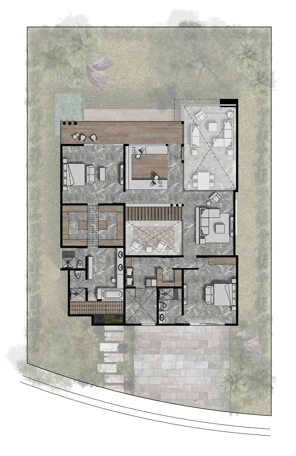 This is an illustration of the second level floor plan of the house featuring the different sections.