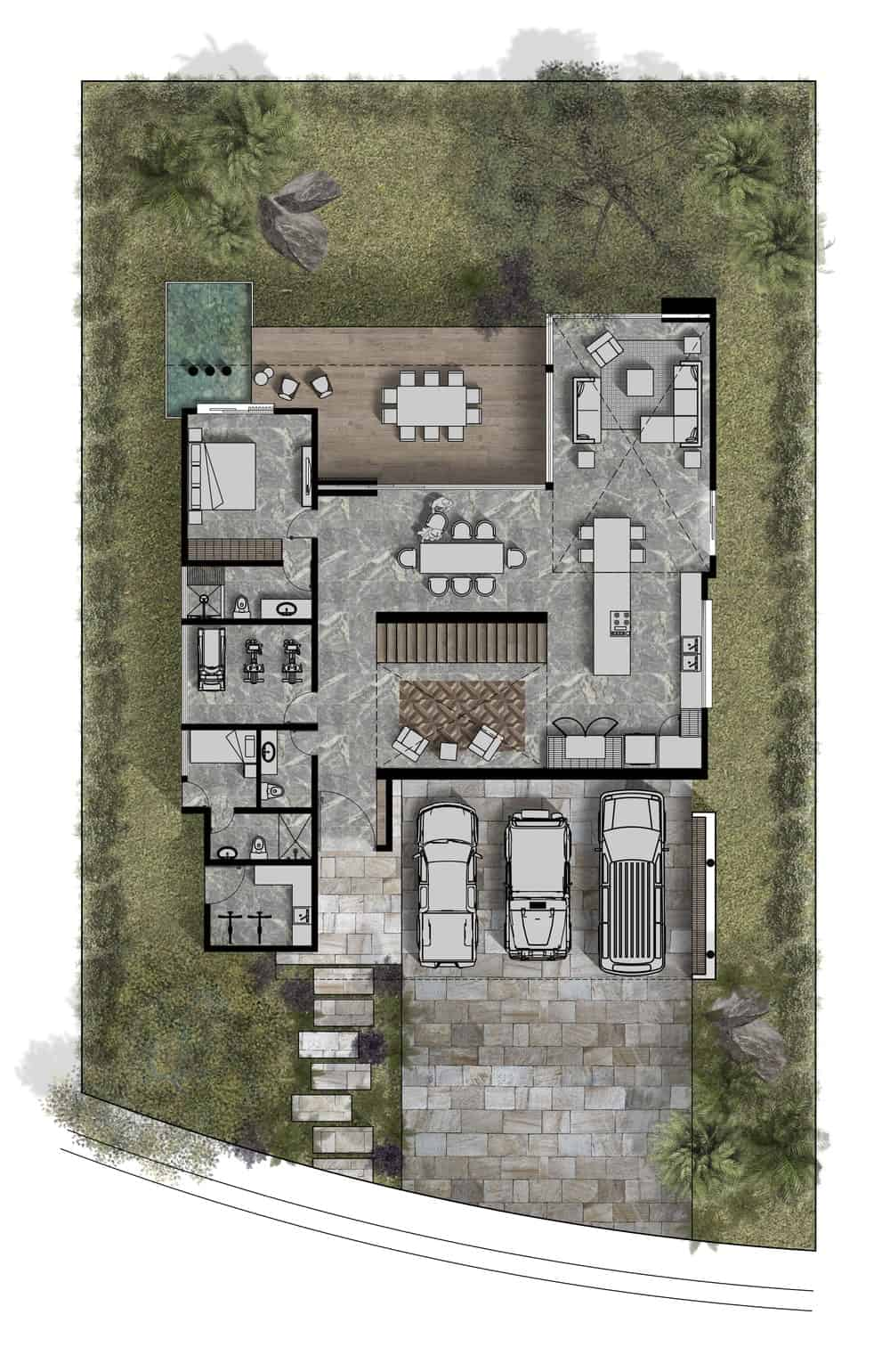 This is an illustration of the first level floor plan of the house featuring the different sections.