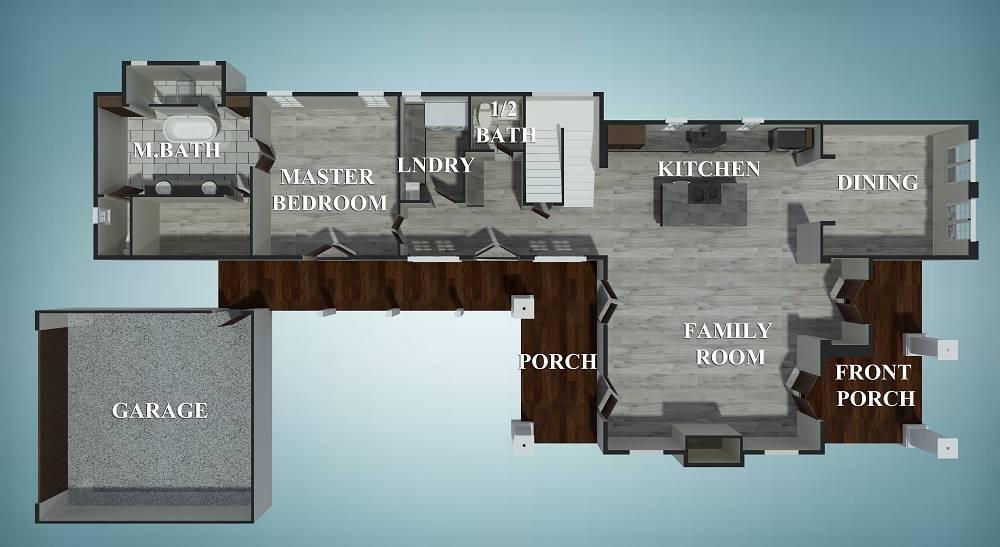 3D floor plan of the main level.