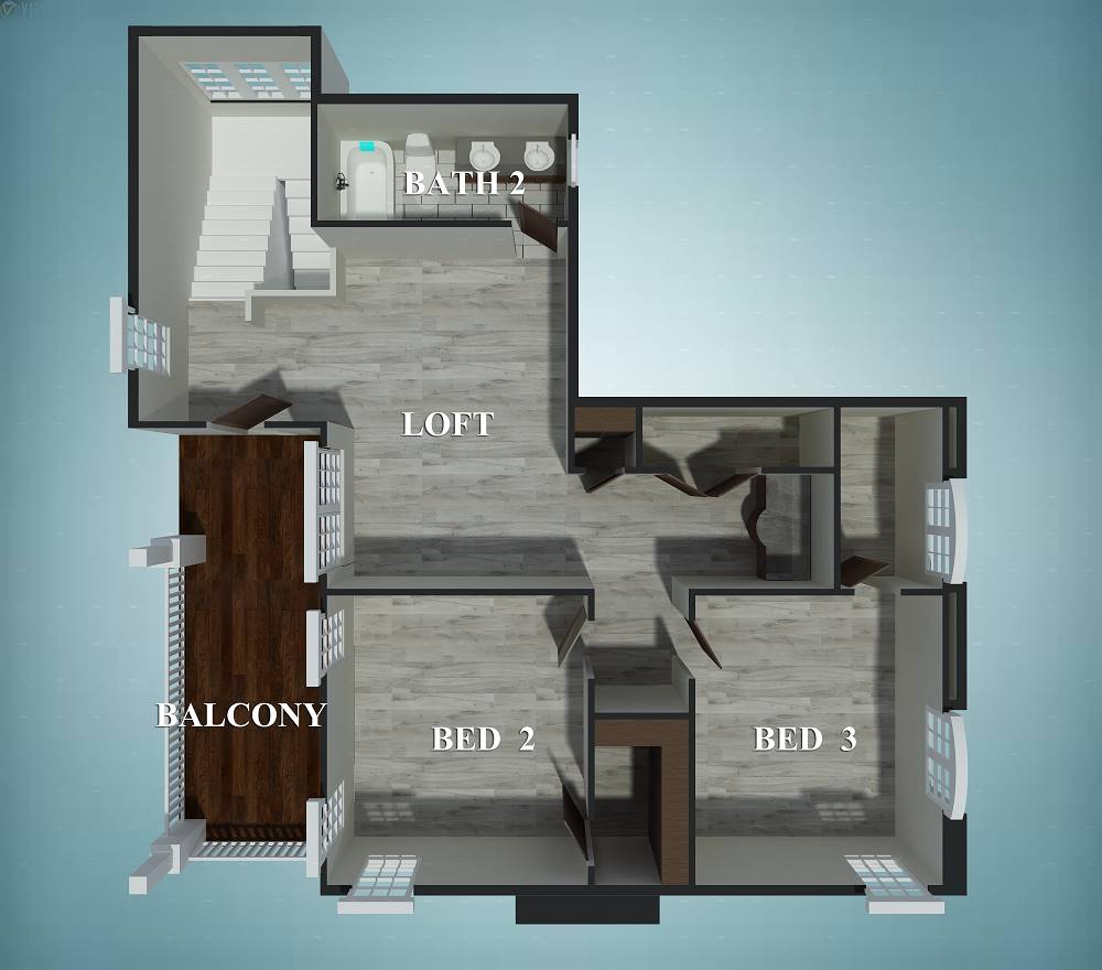 3D floor plan of the second level.