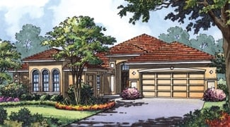 Front perspective sketch of the 4-bedroom single-story Mediterranean home.