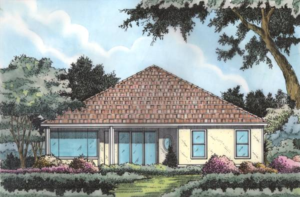 Rear perspective sketch of the 4-bedroom single-story Mediterranean home.