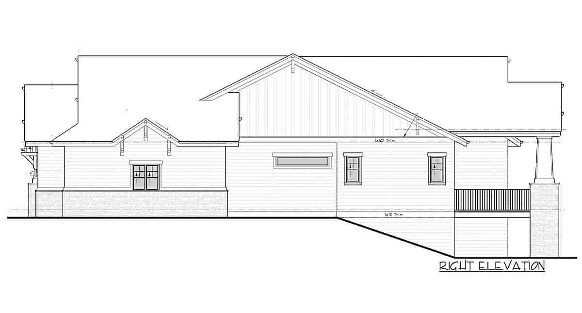 Right elevation sketch of the 4-bedroom single-story mountain craftsman home.