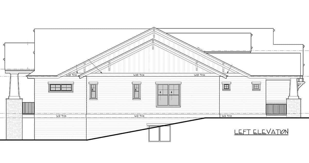 Left elevation sketch of the 4-bedroom single-story mountain craftsman home.