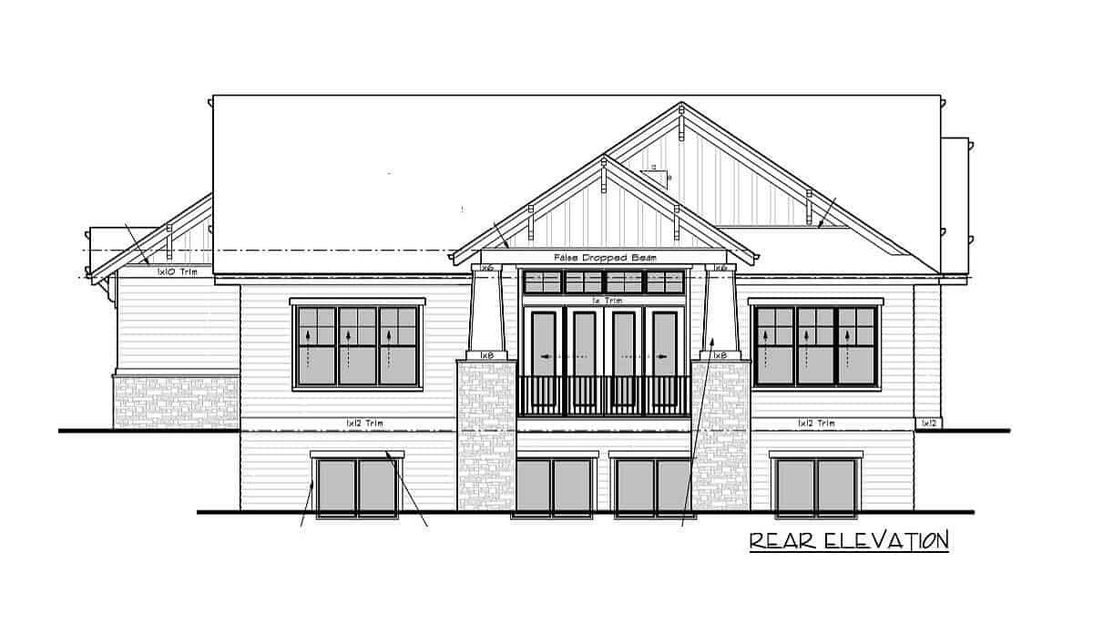 Rear elevation sketch of the 4-bedroom single-story mountain craftsman home.