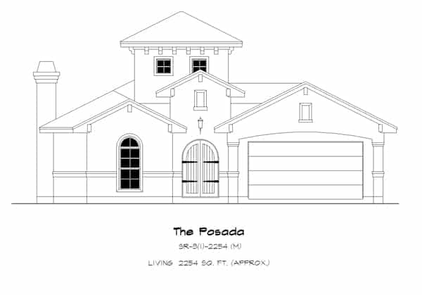 Front elevation sketch of the 4-bedroom single-story Spanish style The Posada home.