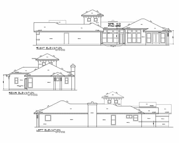 Right, left, and rear elevation sketch of the 4-bedroom single-story Spanish style The Posada home.
