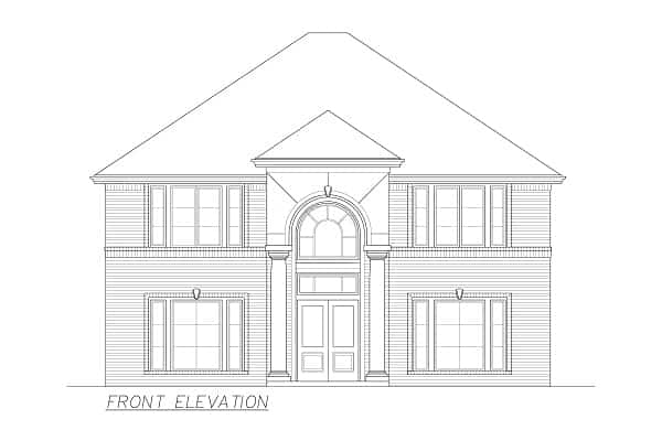 Front elevation sketch of the 4-bedroom two-story Annapolis Brick European home.
