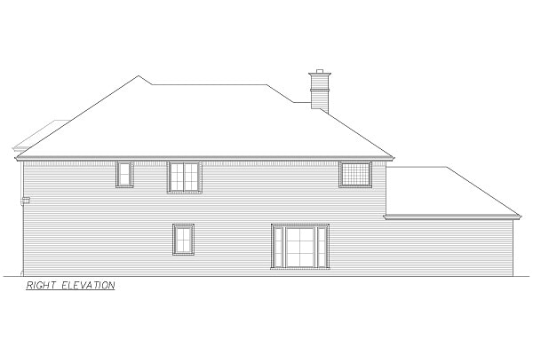 Right elevation sketch of the 4-bedroom two-story Annapolis Brick European home.