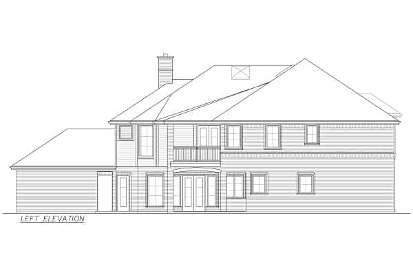 Left elevation sketch of the 4-bedroom two-story Annapolis Brick European home.