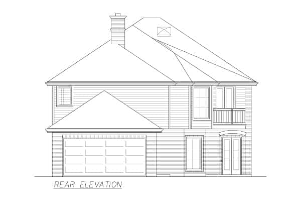 Rear elevation sketch of the 4-bedroom two-story Annapolis Brick European home.