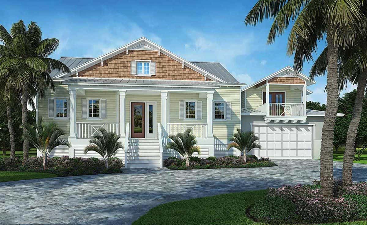 Front rendering of the 4-bedroom two-story beach home.