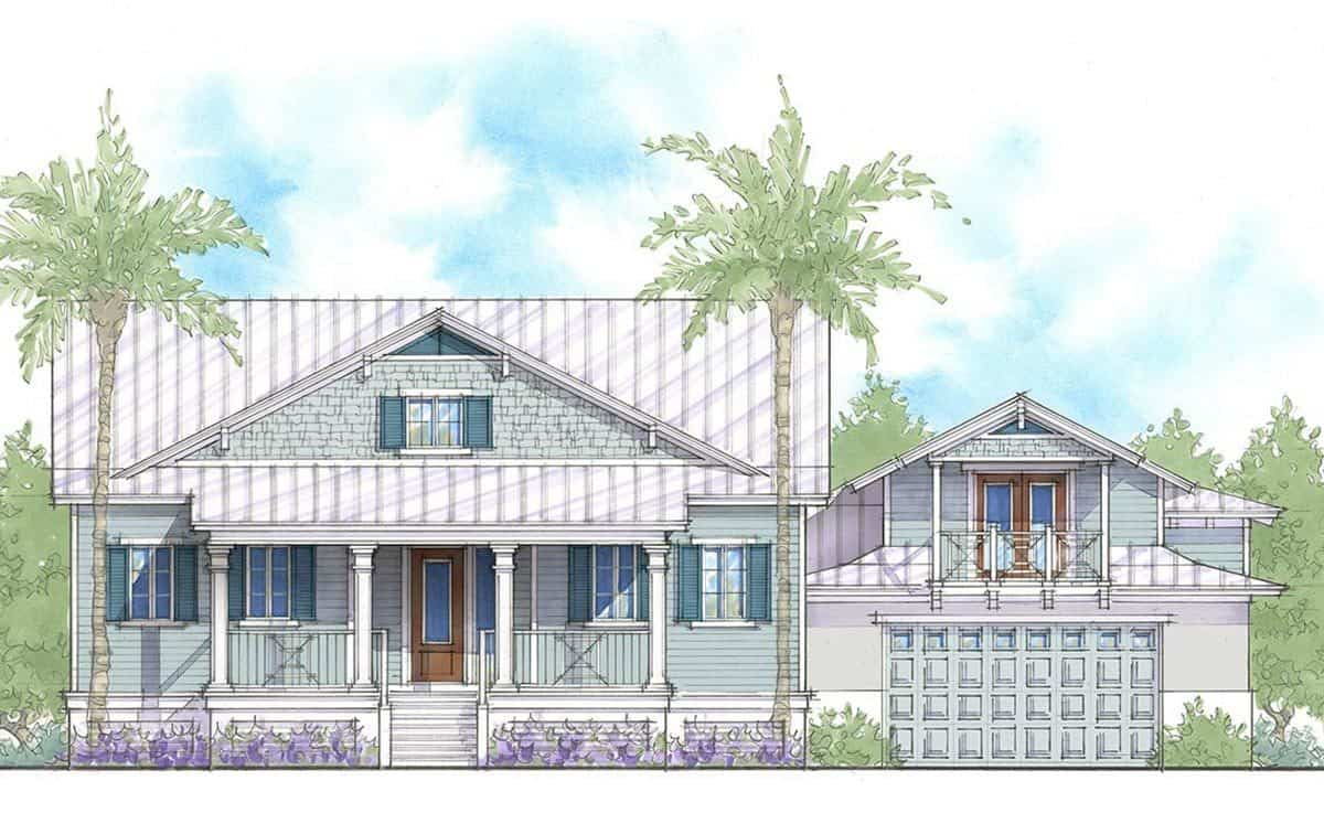 Front perspective sketch of the 4-bedroom two-story beach home.