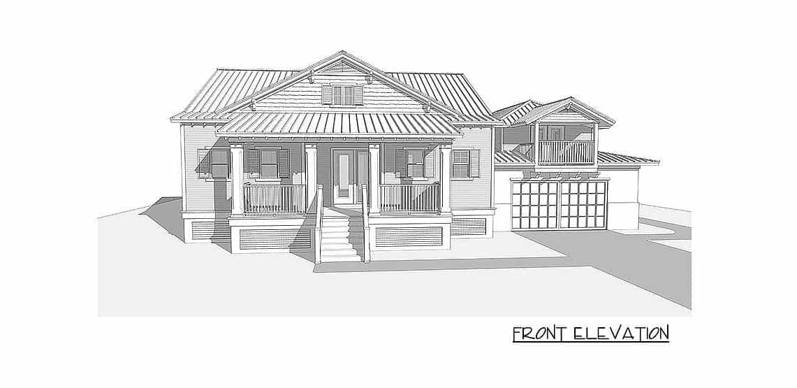 Front elevation sketch of the 4-bedroom two-story beach home.
