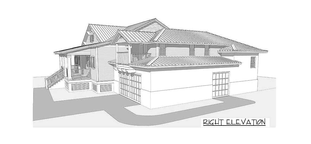 Right elevation sketch of the 4-bedroom two-story beach home.