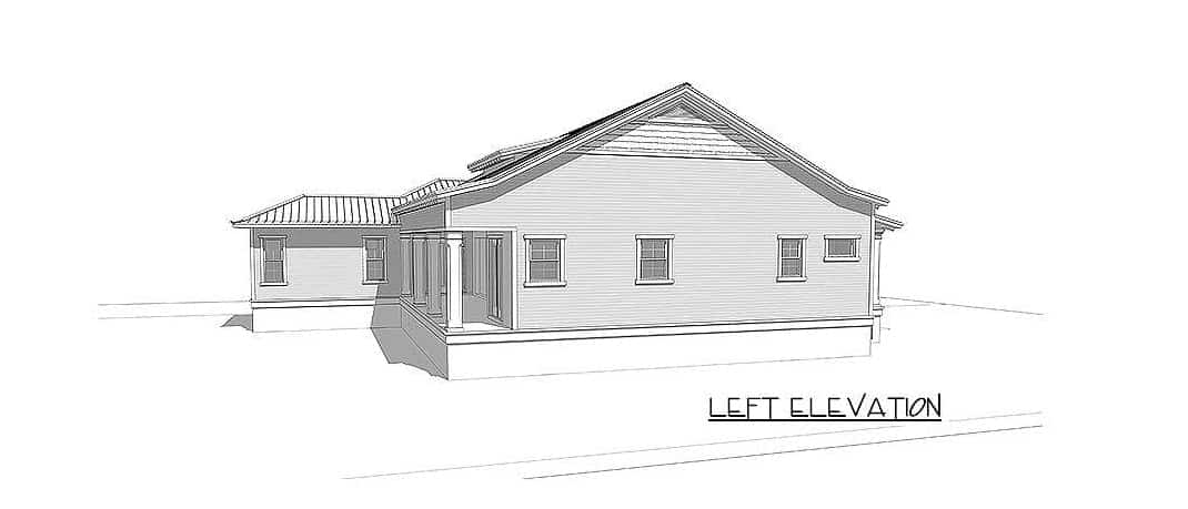 Left elevation sketch of the 4-bedroom two-story beach home.