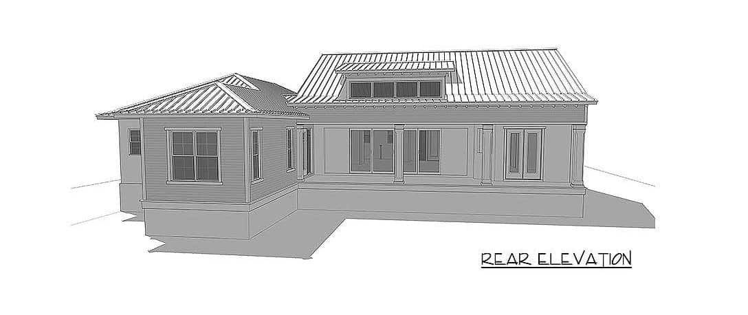 Rear elevation sketch of the 4-bedroom two-story beach home.