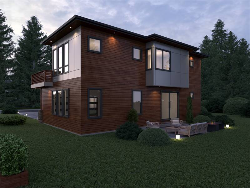 The rear patio is filled with outdoor lamps, cushioned seats, and a matching coffee table.