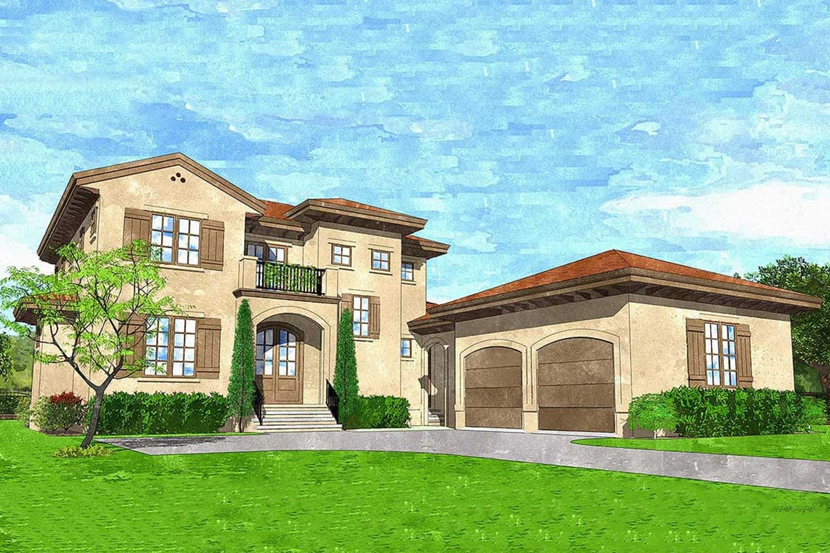 Perspective sketch of the 4-bedroom two-story European villa.