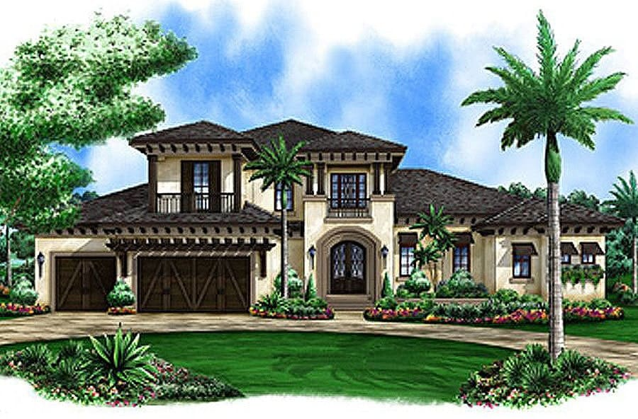 Front perspective sketch of the 4-bedroom two-story Spanish home.