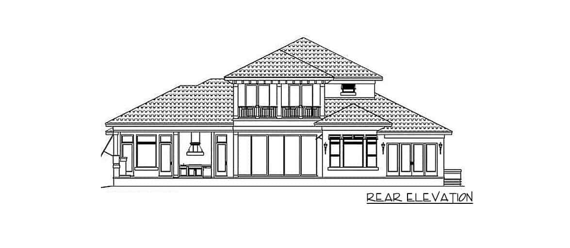 Rear elevation sketch of the 4-bedroom two-story Spanish home.