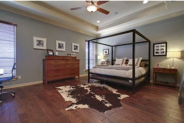 Primary bedroom with a tray ceiling, a canopy bed, a wooden dresser, and a cowhide rug that lays on the hardwood flooring.