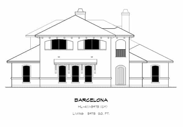 Front elevation sketch of the 4-bedroom two-story The Barcelona Spanish home.