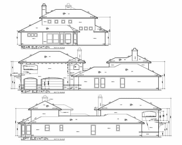 Rear, right, and left elevation sketch of the 4-bedroom two-story The Barcelona Spanish home.