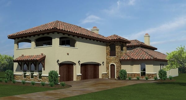 Front rendering of the 4-bedroom two-story The Barcelona Spanish home.