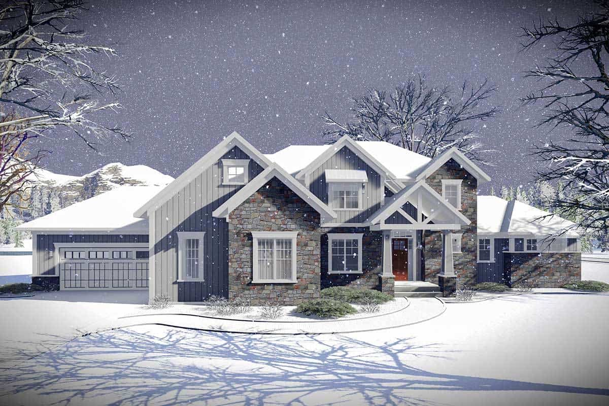 Front rendering of the 5-bedroom two-story craftsman home.