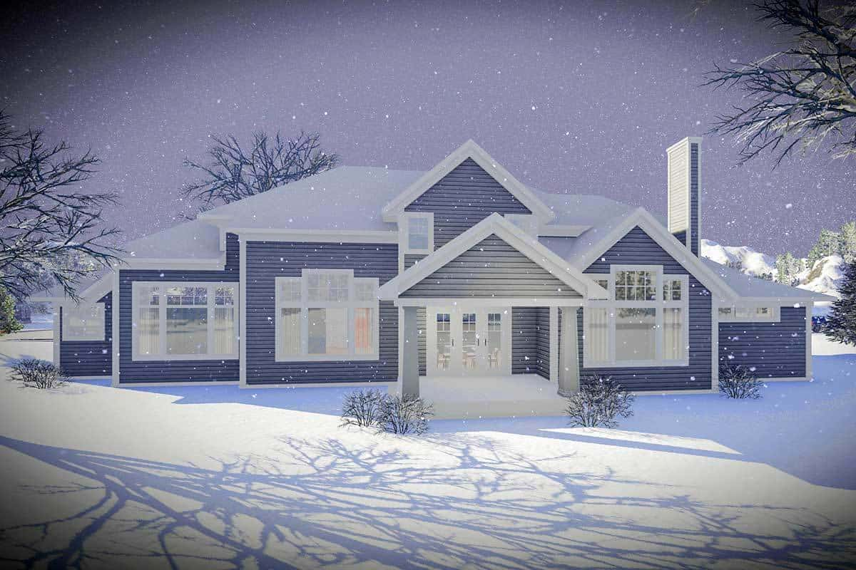 Rear rendering of the 5-bedroom two-story craftsman home.Rear rendering of the 5-bedroom two-story craftsman home.