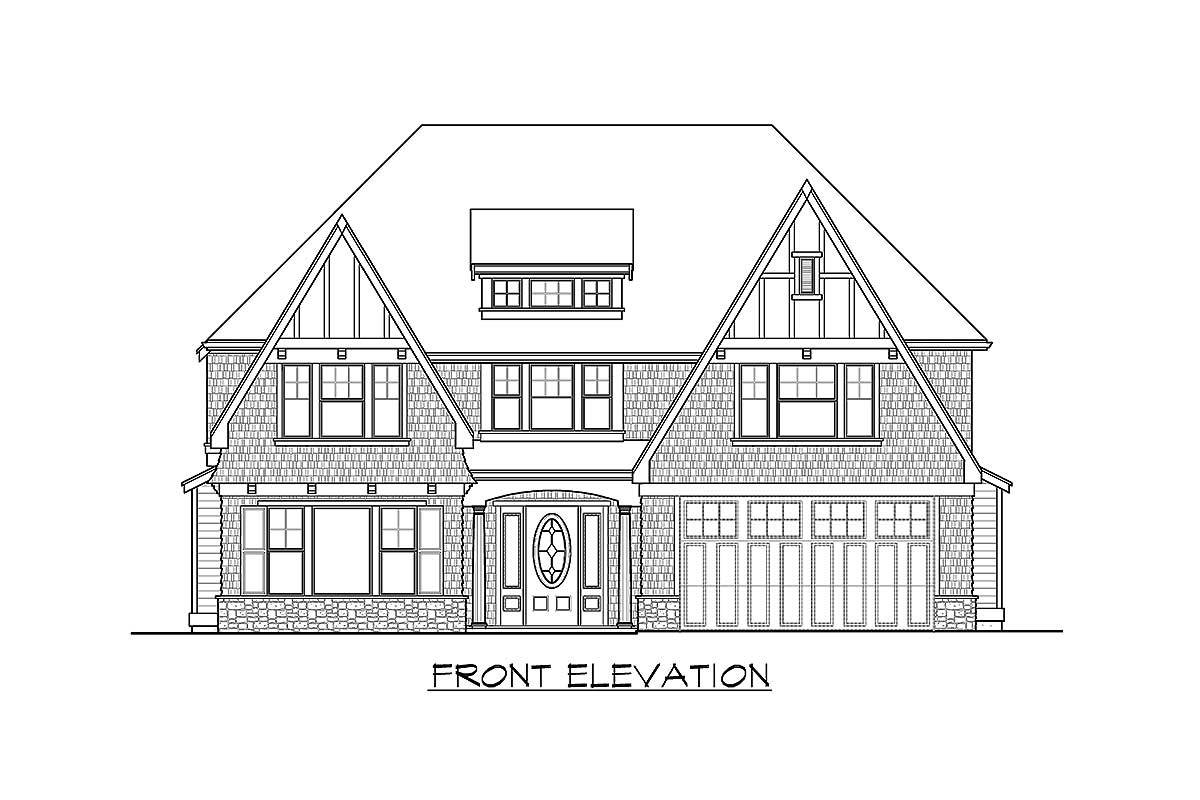 Front elevation sketch of the 5-bedroom two-story modern farmhouse.