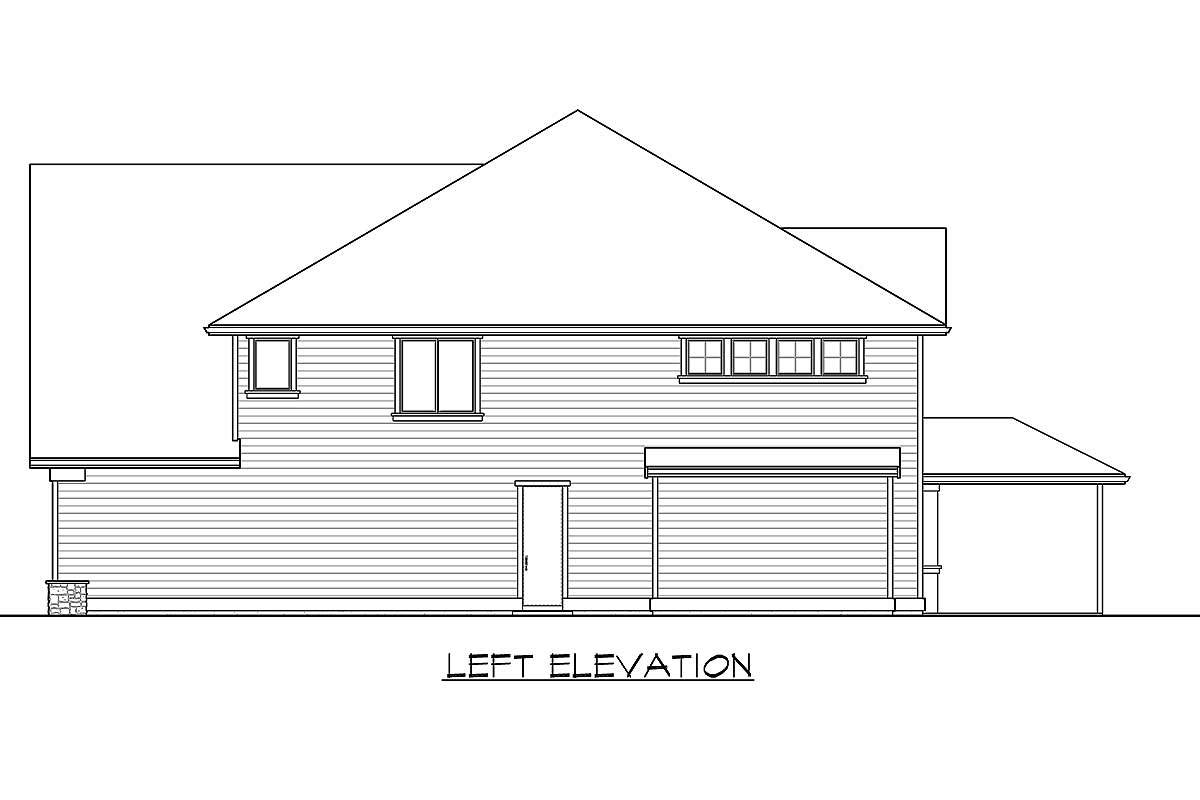 Left elevation sketch of the 5-bedroom two-story modern farmhouse.