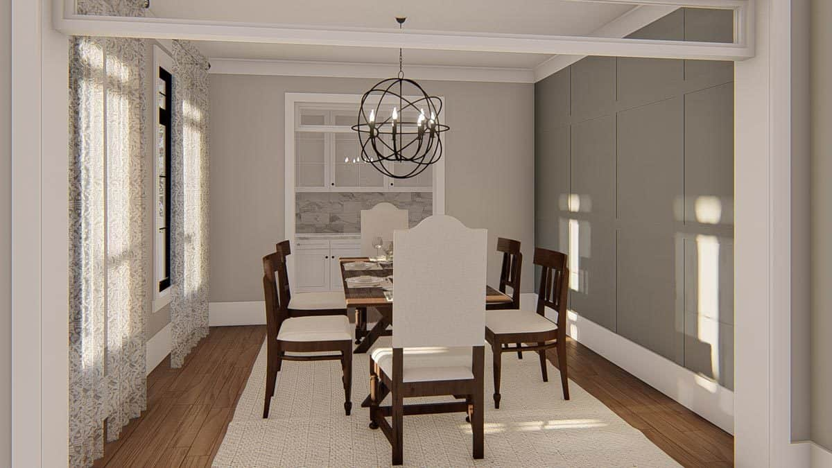 The formal dining room gas a spherical chandelier, a wooden dining table, and cushioned chairs sitting on a textured area rug.