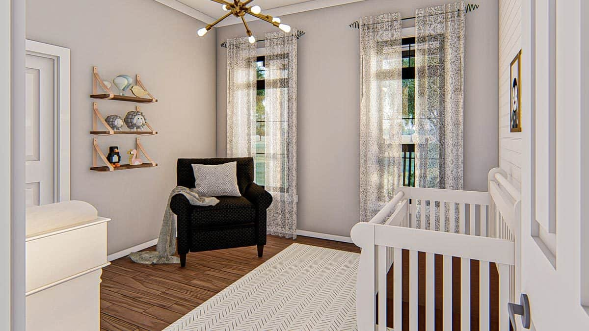 Nursery room with a white crib, black armchair, floating shelves, and a sputnik chandelier.