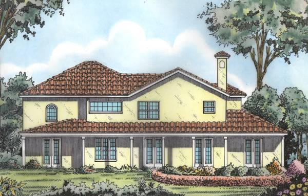 Rear rendering of the 5-bedroom two-story Spanish style Sophia home.