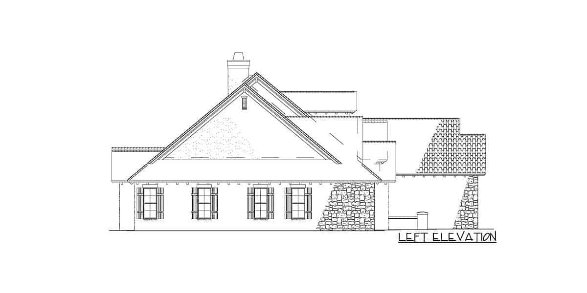 Left elevation sketch of the 5-bedroom two-story Tuscan villa.