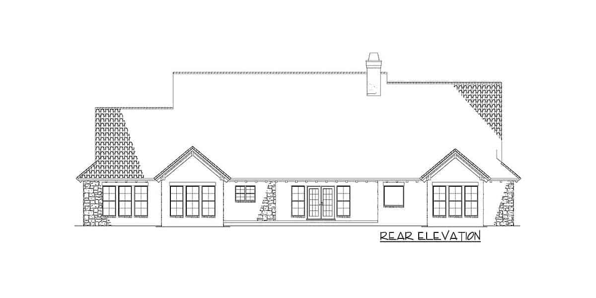 Rear elevation sketch of the 5-bedroom two-story Tuscan villa.