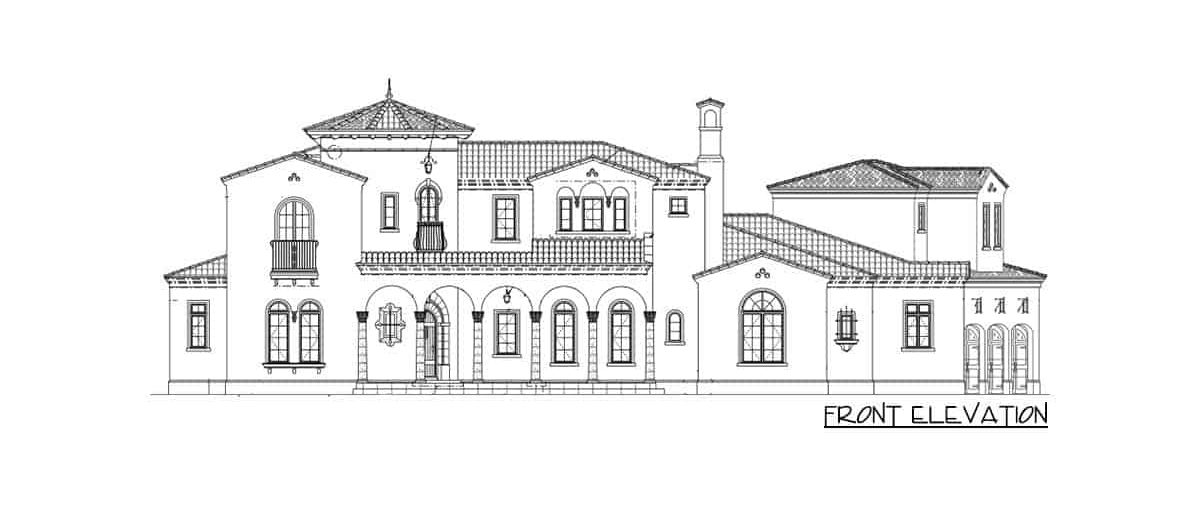 Front elevation sketch of the 6-bedroom two-story Spanish villa.