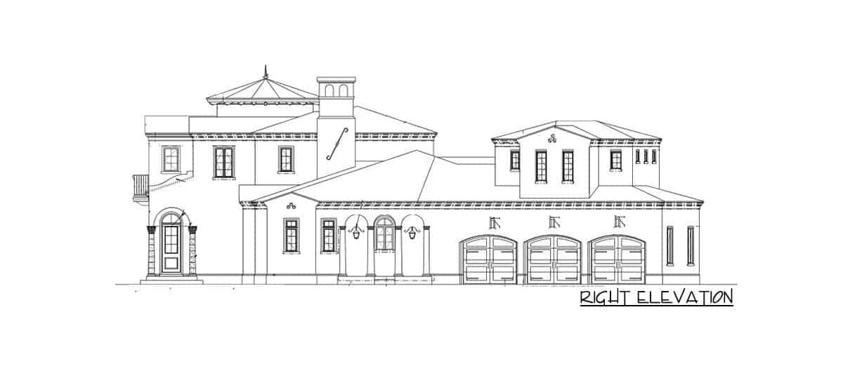 Right elevation sketch of the 6-bedroom two-story Spanish villa.