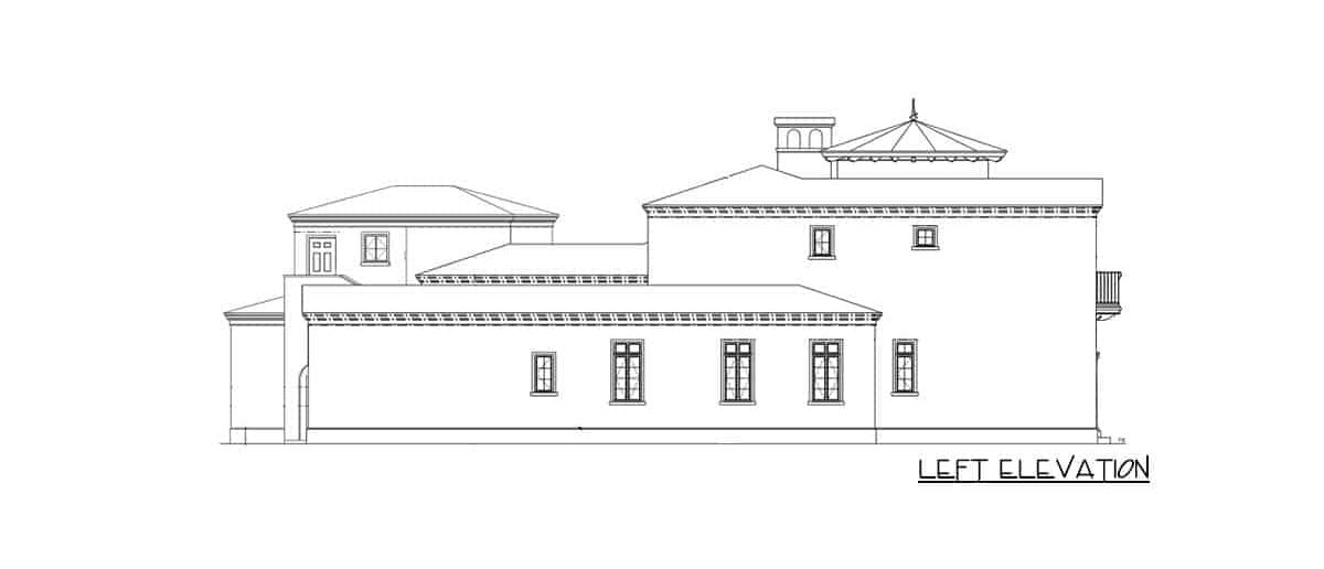 Left elevation sketch of the 6-bedroom two-story Spanish villa.