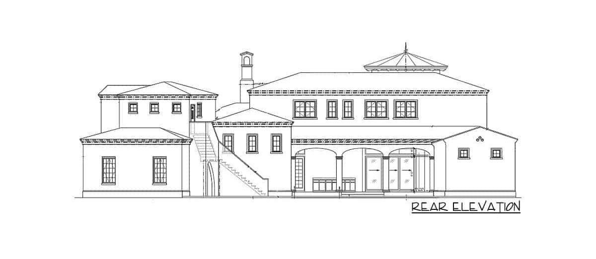 Rear elevation sketch of the 6-bedroom two-story Spanish villa.